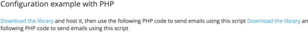 Transactional Email Service Send In Blue screenshot of PHP library links
